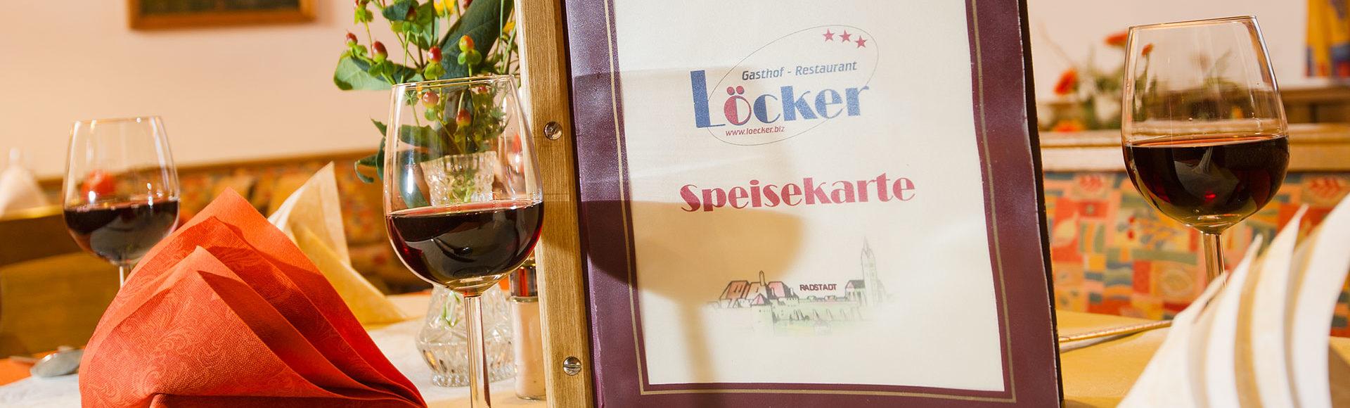 Speisekarte, Gasthof Löcker, Restaurant in Radstadt